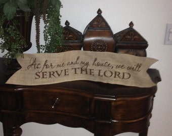 Primitve Natural Jute Burlap Wired Ribbon Banner Serve The Lord Scripture Thanksgiving Christmas