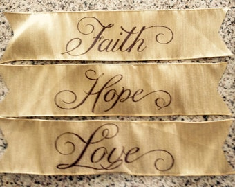 Primitive Christmas Banners Set of Three (3) Faith Hope Love Handmade With Wired Gold Ribbon Wedding Easter Garland
