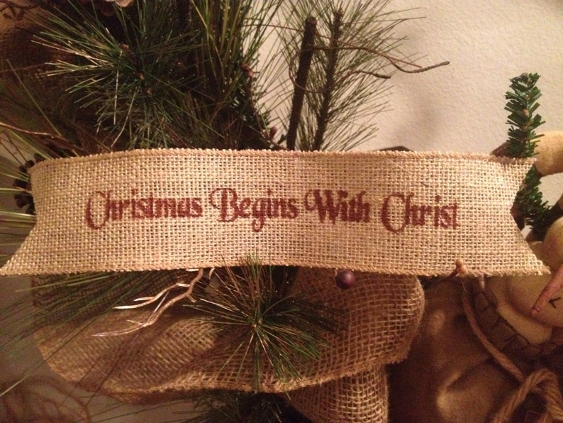 Primitive Christmas Burlap Ribbon Banner Ask Believe Receive Ornament Red//Green