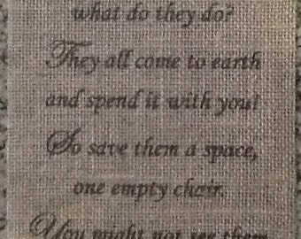 Primitive Christmas In Heaven Burlap Panel Appliqué Sign Poem Inspirational