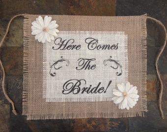 Primitive Here Comes The Bride Natural & White Burlap Flower Girl Ring Bearer Banner Sign Rustic Country Barn Wedding Shabby Chic