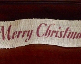 "Primitive Merry Christmas Wired Burlap Ribbon Banner Ornament Garland 4""x18"" Barn Red"