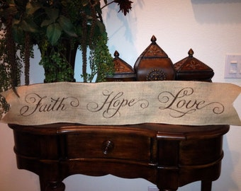 Primitive Wired Burlap Banner Faith Hope Love