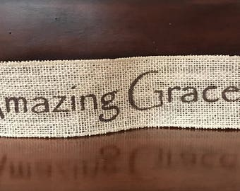 """Primitive Christmas Amazing Grace Wired Burlap Ribbon Banner Ornament Garland 2-1/2"""" x 14"""""""