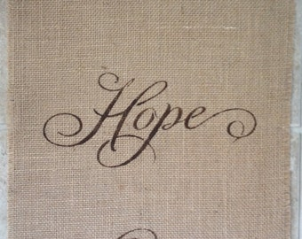 Primtive Natural Jute Burlap Panel Banner Faith Hope Love