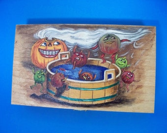 Wood Box Halloween Scene Of Pumpkin And Apples Wood Burned And Hand Painted