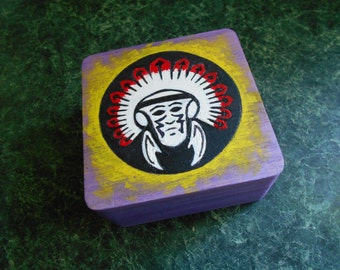 Indian Cheif Wood Trinket Box Wood Burned & Hand Painted
