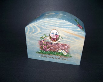 Childs Humpty Dumpty Wooden Bank Wood Burned and Hand Painted
