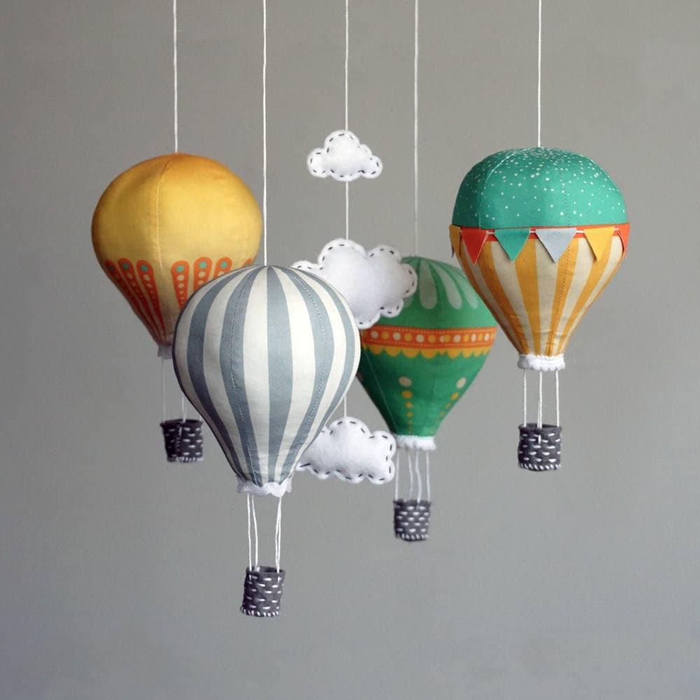 diy baby mobile kit hot air balloon kit modern nursery etsy. Black Bedroom Furniture Sets. Home Design Ideas