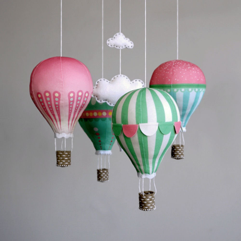 Nursery decor DIY baby mobile kit hot air balloon modern ...