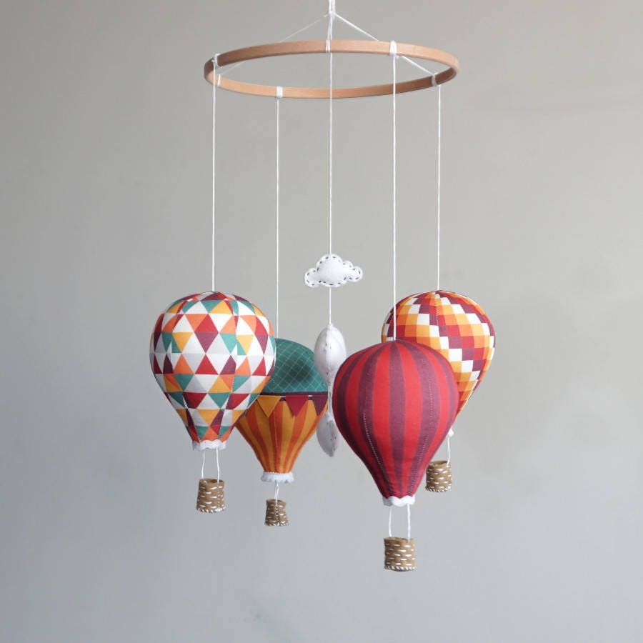 Nursery decor DIY baby mobile kit hot air balloon - modern nursery ...