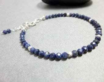 Sapphire & Sterling Silver Bracelet - Peace of Mind - Serenity - Wisdom Stone - Good Fortune - September Birthstone -  Dainty Bracelet