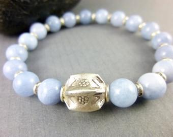 Aquamarine Bracelet, March Birthstone Bracelet, Hill Tribe Fine Silver, Throat Chakra Bracelet, Chakra Energy Jewelry