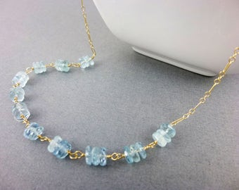 Aquamarine Chakra Necklace, 14K Gold Fill, Throat Chakra Stones, Blue-Green, Healing Crystals, Chakra Energy Jewelry