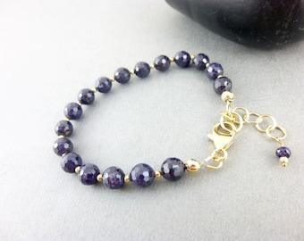 Genuine Sapphire Bracelet, 14K Gold Fill, September Birthstone Jewelry, Wisdom Stone, Stone of Prosperity, Brings Lightness & Joy