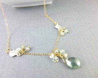 Moss Aquamarine Necklace, Art Deco Style, 14K Gold Fill, Courage, Calming Energies, Clears Confusion, Sharpens Intellect, Soothes Fears