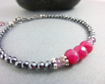 Ruby, Sapphire and Hematite Bracelet, Sterling Silver, Gift for Her, Encourages Passion, Spontaneity, Releases Stress, Tension and Worry,