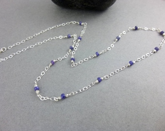 Blue Genuine Sapphire Necklace, Sterling Silver, Wisdom Stone, Releases Mental Tension & Depression, Brings Lightness, Joy and Peace of Mind