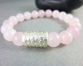 Rose Quartz Chakra Bracelet, Pink Stacking Bracelet, Fine Silver, Heart Chakra Bracelet, Healing Crystals Chakra Stones, Pantone Rose Quartz