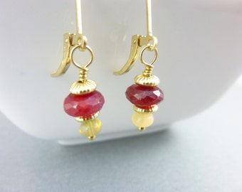 Ruby & Welo Opal Earrings, 14K Gold Fill, Encourages Passion, Zest for Life, Encourages Joy, Releases Anger, Brings Loyalty, Faithfulness