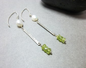 Peridot and Pearl Long Sterling Silver Dangles, August Birthstone, Guards Against Jealousy, Reduces Stress, Gift for Her