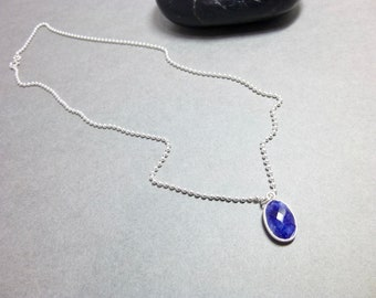 Small Oval Blue Sapphire Pendant Necklace - Sterling Silver - Stone of Wisdom - September Birthstone  - Brings Lightness & Joy