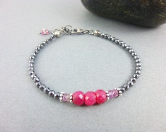 Ruby & Pink Sapphire Heart Chakra Bracelet, Hematite Root Chakra, Dainty Beaded Bracelet,  Healing Crystals Chakra Jewelry, Pink and Black