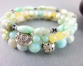 Amazonite Chakra Bracelet Set Throat Chakra Sterling Silver Beaded Yoga Bracelets Stacking Bracelets Healing Crystals Energy Jewelry