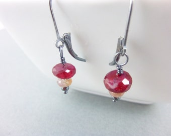 Natural Ruby & Pink Sapphire Earrings, Sterling Silver, Confidence, Courage, Wisdom, Zest for Life, Joy, Spontaneity, Releases Tension