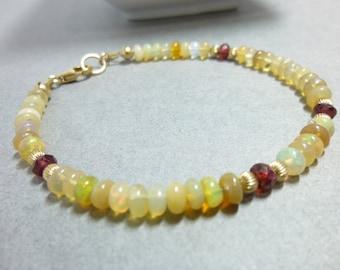 Welo Opal Bracelet with Garnets - 14K Gold Fill - Dainty Bracelet -  Ethiopian Opals - Stimulates Originality & Creativity