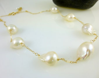 Flameball Baroque Pearl Necklace, Large Freshwater Pearls,  14K GF, Tin Cup Necklace, Chakra Jewelry