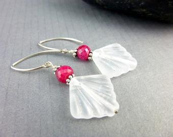 Genuine Ruby Earrings, Art Deco Style, Healing Crystals Earrings, Root & Heart Chakra Earrings, July Birthstone, Birthstone Jewelry
