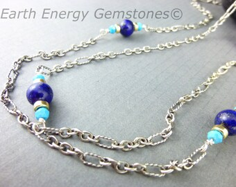 Throat Chakra Necklace Lapis Turquoise Third Eye Chakra Necklace Long Sterling Silver & Gold Fill Chain Mixed Metals Healing Crystals