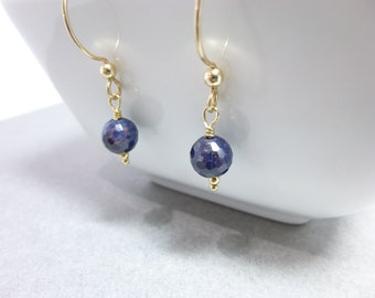 Genuine Blue Sapphire Earrings, 14K Gold Fill, Stone of Prosperity, Releases Mental Tension, Promotes Serenity, Joy, September Birthstone