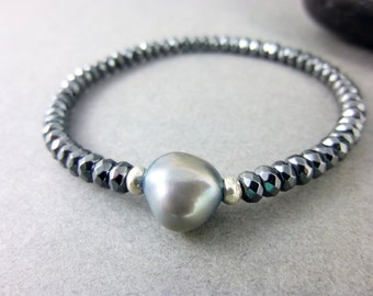 Pearl & Hematite Bracelet, Gray Baroque Pearl Bracelet, Root Chakra / Third Eye Chakra Bracelet, Healing Energy Crystal Bracelet