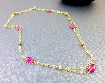Pink Tourmaline Necklace - Heart Chakra Necklace  - October Birthstone - Rubelite Tourmaline -  14K GF - Chakra Jewelry - Healing Crystals