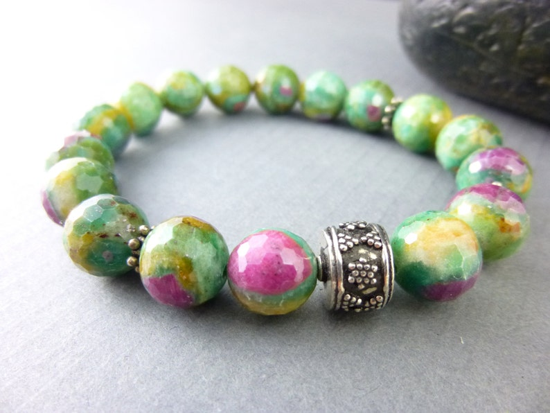 Pink and Green Stretch Bracelet Ruby-in-Zoisite Gemstone image 0
