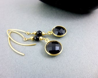 Black Onyx Dangles, Chakra Earrings, Root Chakra Earrings, 14K Gold Fill, Healing Crystals, Chakra Energy, Healing Chakra Jewelry