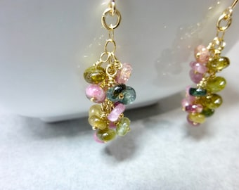 Colorful Tourmaline Cluster Earrings, 14K Gold Fill, October Birthstone, Gift for Her, Attracts Inspiration, Tolerance, Prosperity