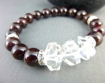 Glamorous Garnet & Rock Crystal Quartz Chakra Bracelet, Luxe Bohemian Stacking Bracelet, Healing Energy Bracelet, Crown Chakra Energy