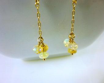 Genuine Welo Ethiopian Opal Threader Earrings - Opal and 14K Gold Fill Earrings -  Welo Opal Cluster Earrings - Healing Crystals