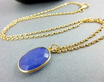 Blue Sapphire Pendant Necklace - 14K Gold Fill - September Birthstone Jewelry - Serenity - Peace of Mind - Stone of Prosperity