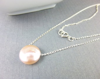 Freshwater Pearl Chakra Necklace, Blush Pink Coin Pearl Necklace, Sterling Silver, Gift for Best Friend, Healing Chakra Energy Jewelry