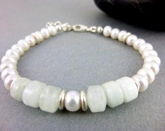 Chakra Bracelet, Aquamarine and Pearl Bracelet, Throat Chakra, Third Eye Chakra, Sterling Silver, Healing Crystals Chakra Jewelry