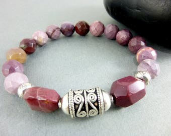 Pink Mookaite Chakra Bracelet, Bali Sterling Silver Focal, Beaded Stretch Bracelet, Compass for Decision Making, Chakra Jewelry