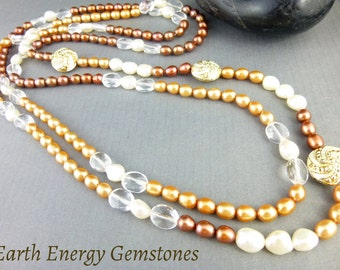 Long Pearl Rope Necklace - White, Copper & Golden Pearls - 54-Inch Boho Pearl Necklace - Freshwater Pearls - Chakra Healing Energy Crystals