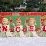SALE HALF Off Vintage NOEL Japan Angels Girl Christmas Bells Miniature Original Box Napco Relco Commodore 1950s