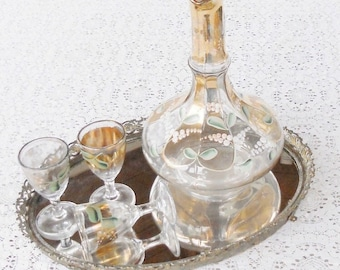 Vintage ITALIAN Romantic Hand Painted DECANTER Set Gilded Gold Glass Set for Three with Hold Filagreed Metal Tray 1940's