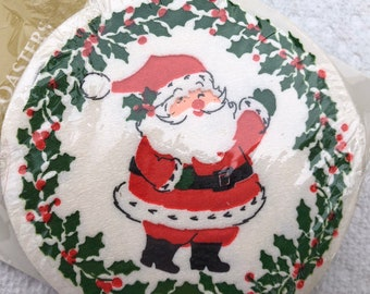 Vintage Christmas HALLMARK Santa Claus Paper Beverage COASTERS Holly Berries Party Supplies Barware 1960's