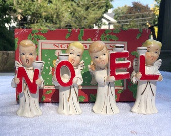 Vintage Christmas Japan Commodore NOEL Children Angel candle holders Box Japan 1950's Relco Napco